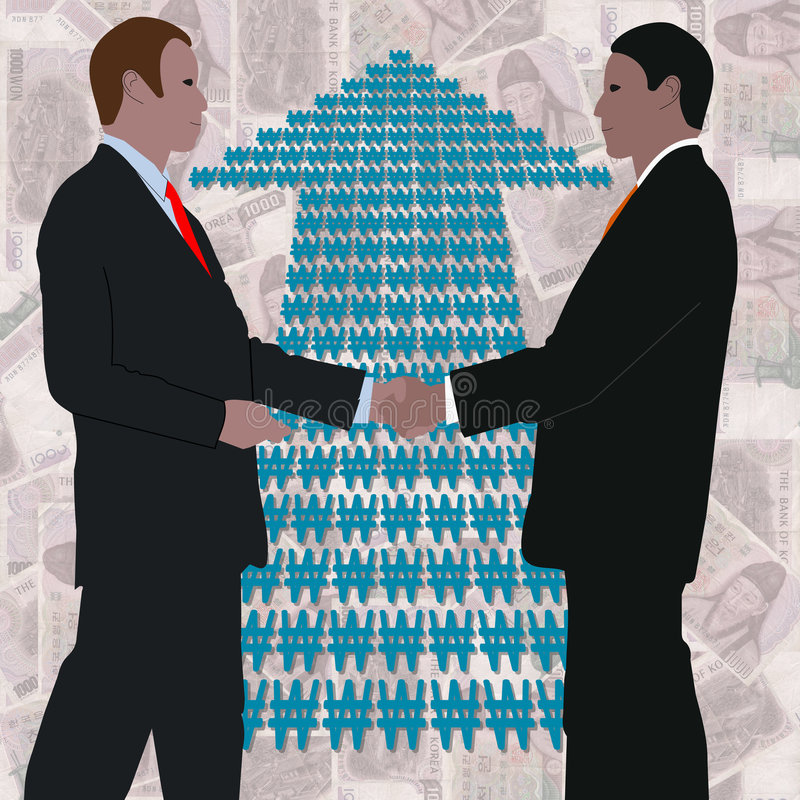 Download Handshake with Won arrow stock illustration. Image of increase - 7488673