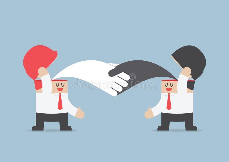 Handshaking бизнесмена друг с другом, Brainstrom, сыгранность co бесплатная иллюстрация