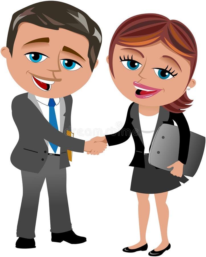 Handshaking бизнес-леди и человека иллюстрация штока