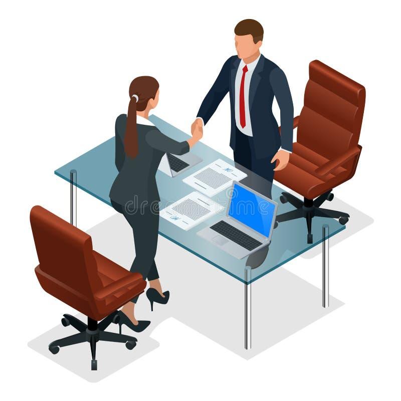 Handshaking предпринимателей после переговоров или интервью на офисе Производительная концепция партнерства конструктивно бесплатная иллюстрация