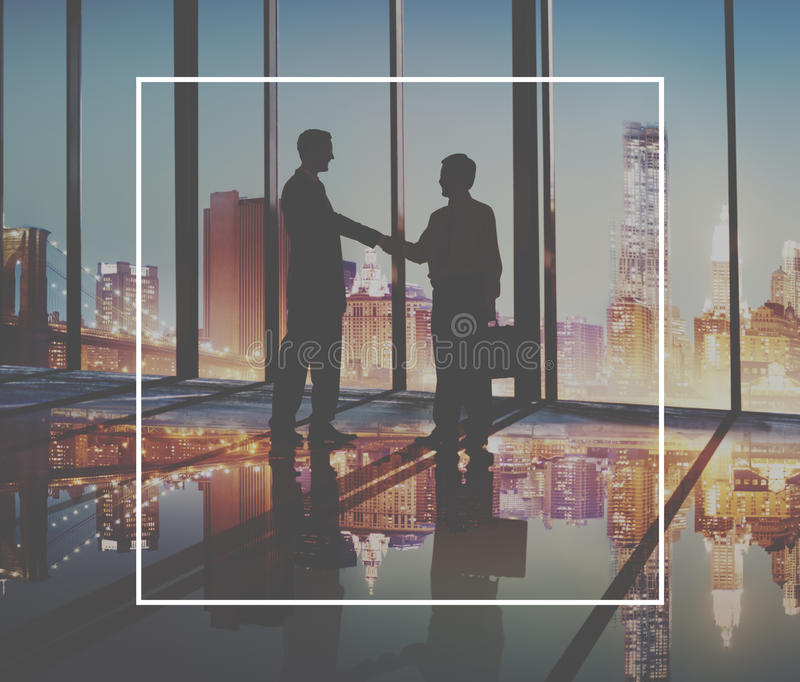 Frame Copy Space Square Border Rectangle Concept. Handshaking Business Agreement Greeting Success Deal Collaboration Concept royalty free stock image