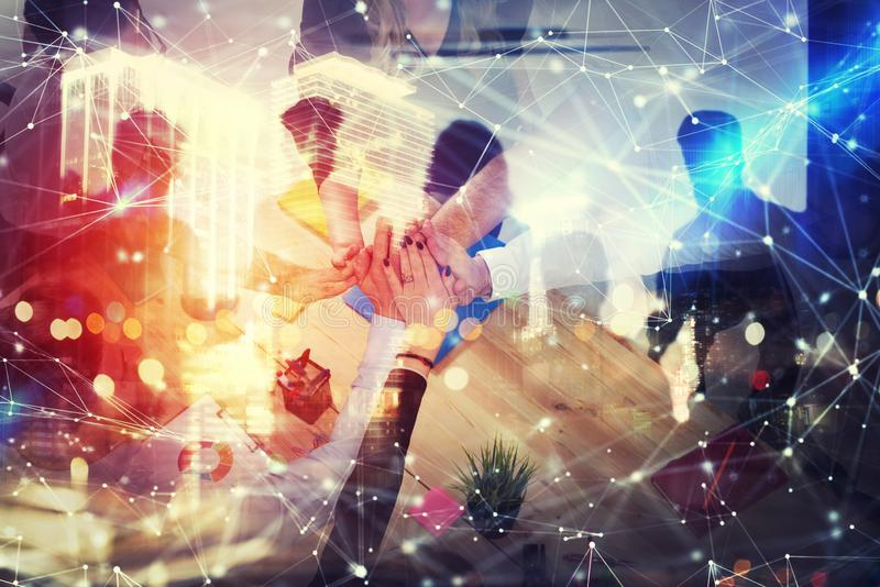 Handshaking business person in office. concept of teamwork and partnership. double exposure with network effects. Group of young people make an agreement in the vector illustration