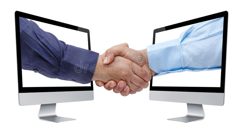 Handshaking Deal Computer Perspective Isolated. Businessman handshaking coming out from perspective view of computer screens isolated white background royalty free stock photography