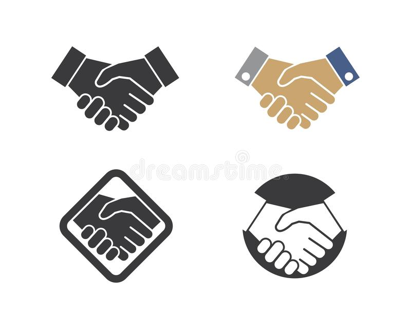 handshaking logo vector icon of business agreement royalty free illustration
