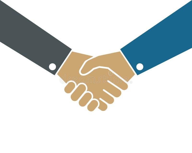 Handshaking logo vector icon of business agreement. Design stock illustration