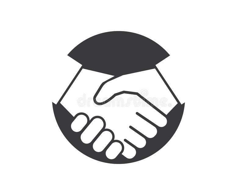 handshaking logo vector icon of business agreement stock illustration