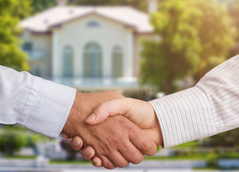Handshaking for Real Estate. Agreement stock image