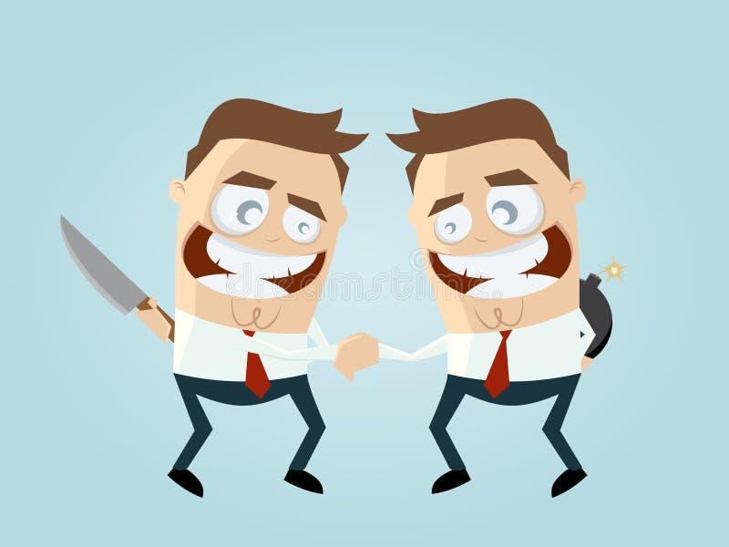 Handshaking rywale z broniami behind royalty ilustracja