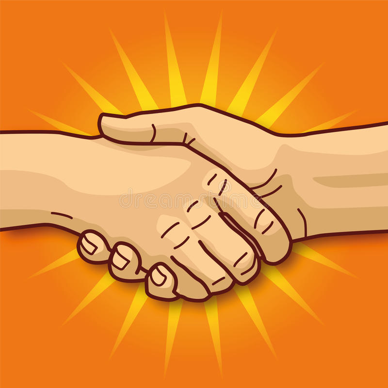 Handshaking. Shaking hands, friendship, and a good business deal royalty free illustration