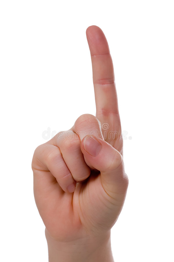 Handsign - Attention! Isolated royalty free stock image