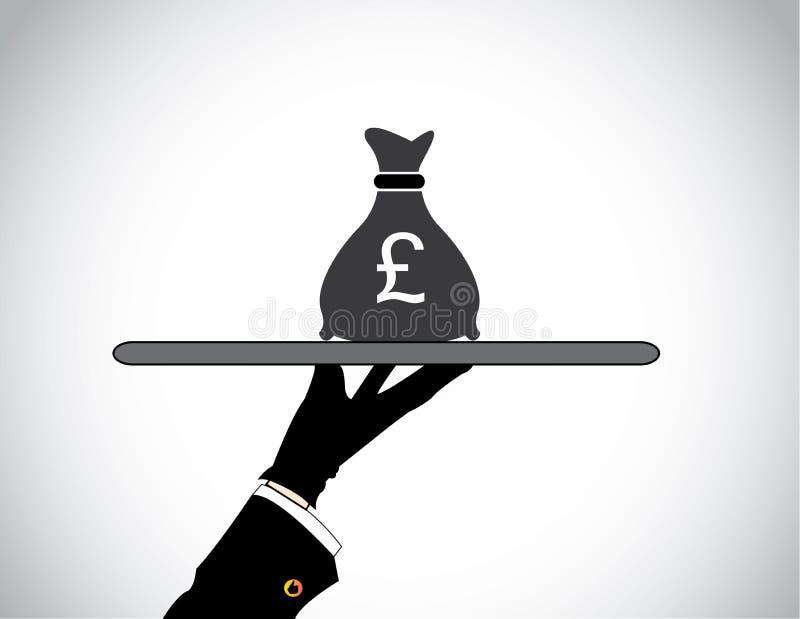 Handsilhouet die geldzak van Brits pond Sterling voorstellen stock illustratie