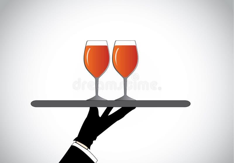 Handsilhouet die twee modieuze glazen met rode wijn voorstellen vector illustratie
