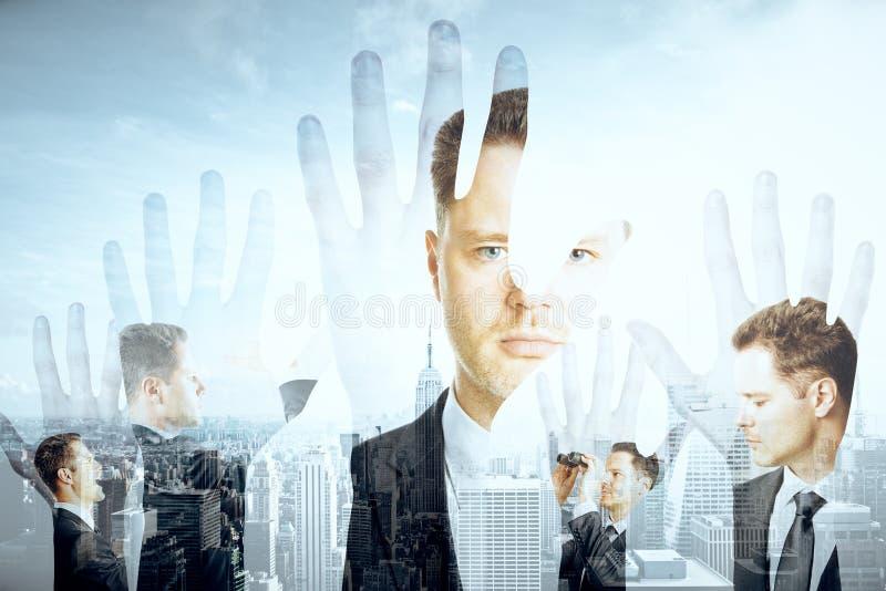 Handsilhouetten en zakenlieden royalty-vrije stock foto