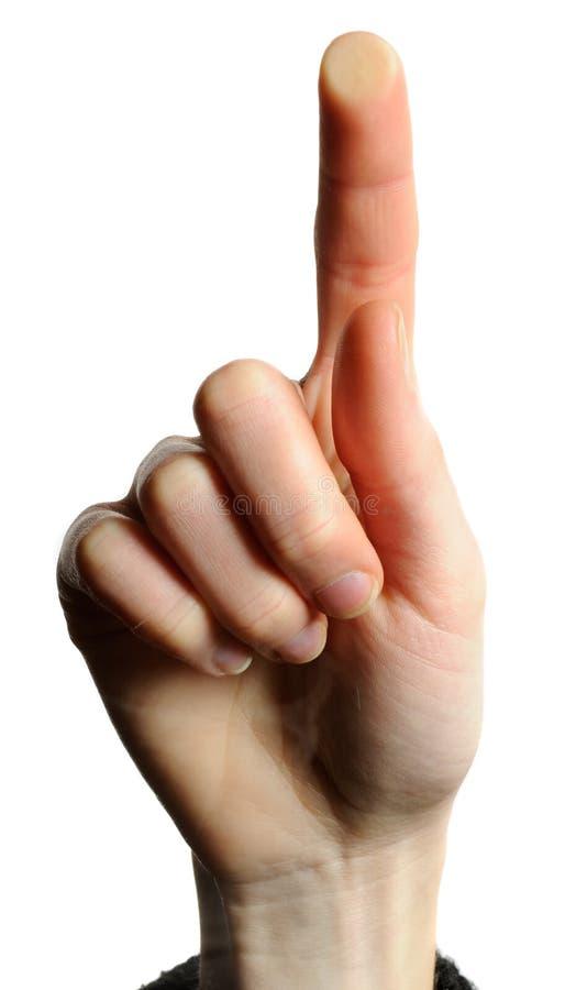 handskärm som trycker på kvinnan arkivbild