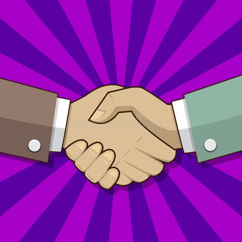 handskakning affärsmanhänder som upprör två stock illustrationer