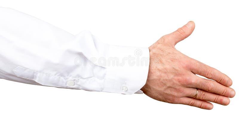 handskakning Affärsmaninnehavhand för att skaka arkivbild