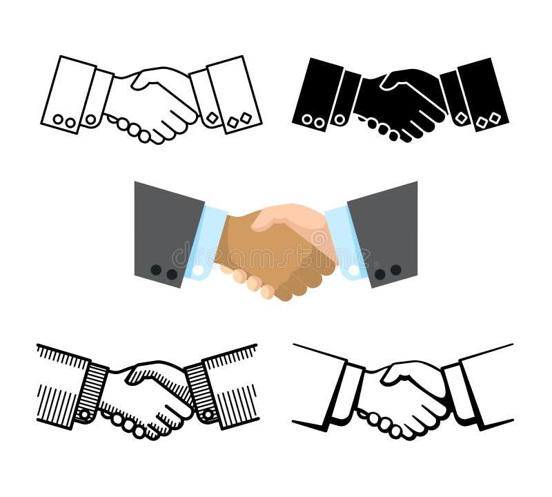 Handskakning affärspartnerskap, överenskommelsevektorsymboler vektor illustrationer