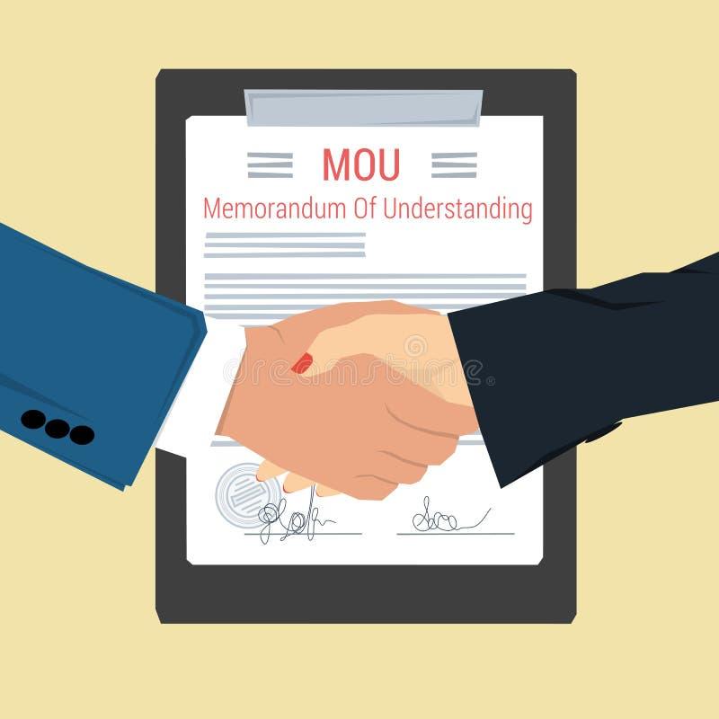 Handskakning - anteckning av överenskommelse royaltyfri illustrationer