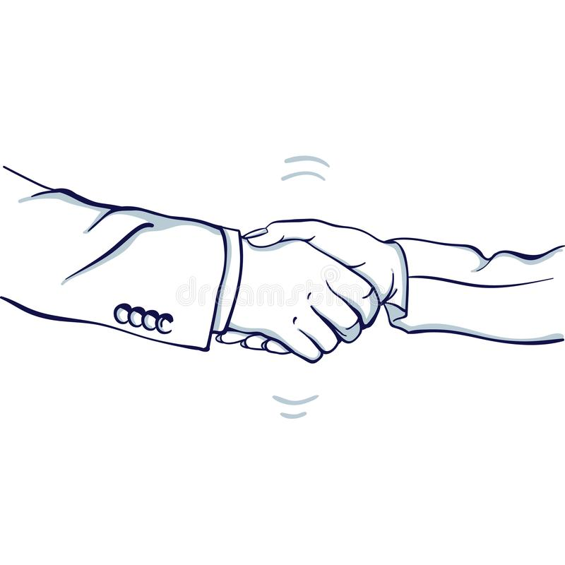 Handskakning av affärsmannen och affärskvinnan stock illustrationer