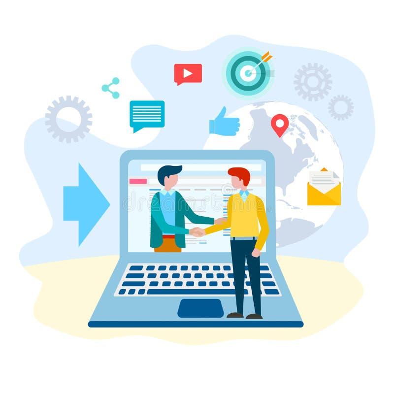 Handskakning av begreppet för affärspartnerinternetkommunikation royaltyfri illustrationer