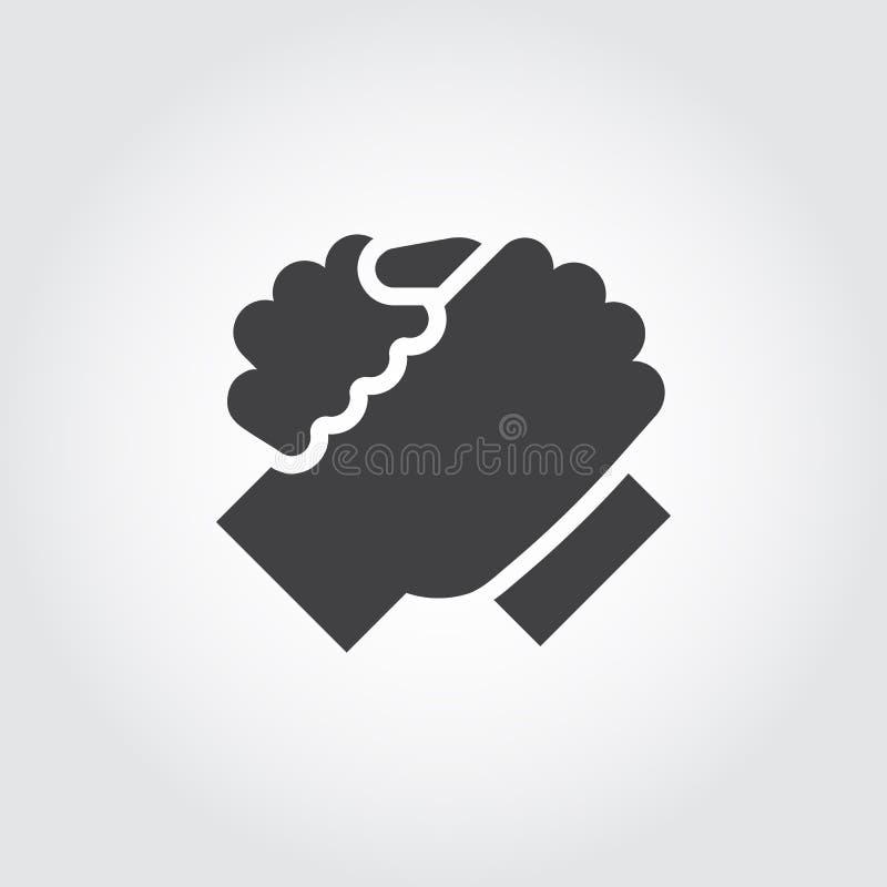 Handskakning av symbolen för två personer i plan stil stock illustrationer