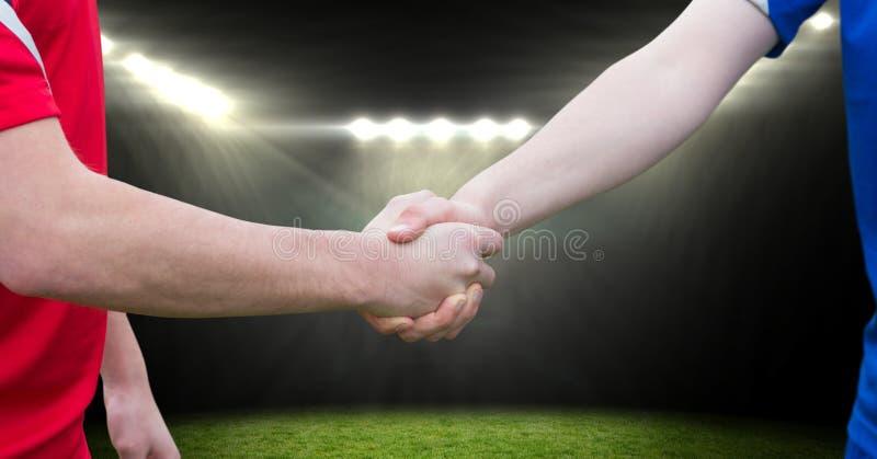 handskakning för fotbollspelare i fältet stock illustrationer