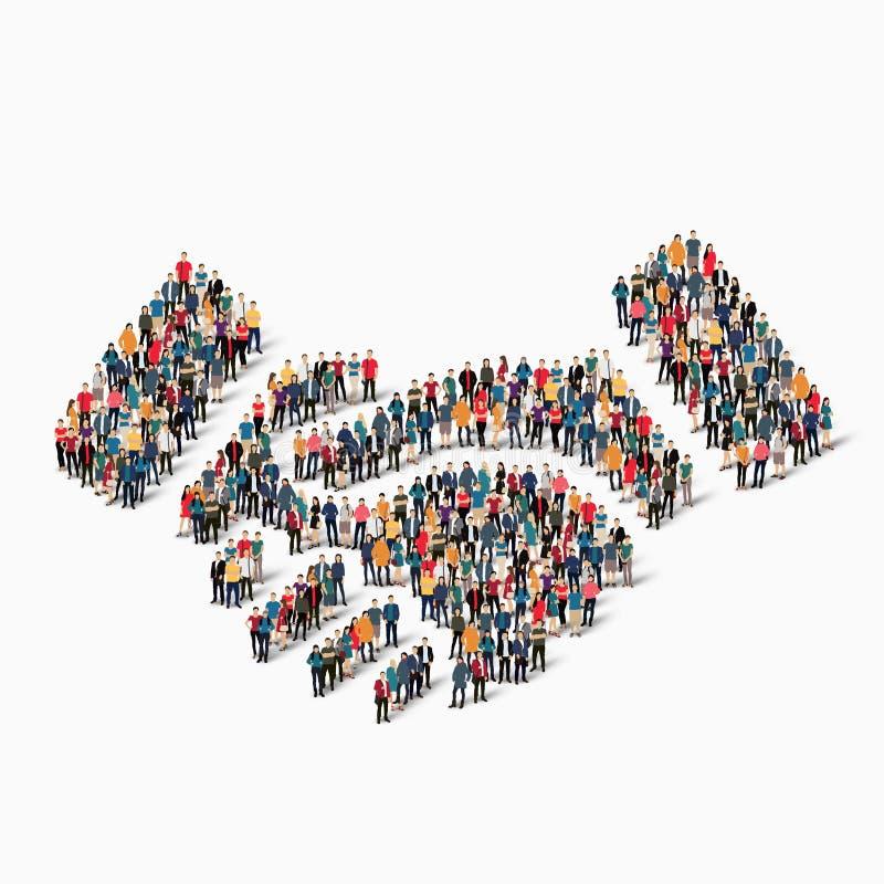 Handskakning för gruppfolkform royaltyfri illustrationer