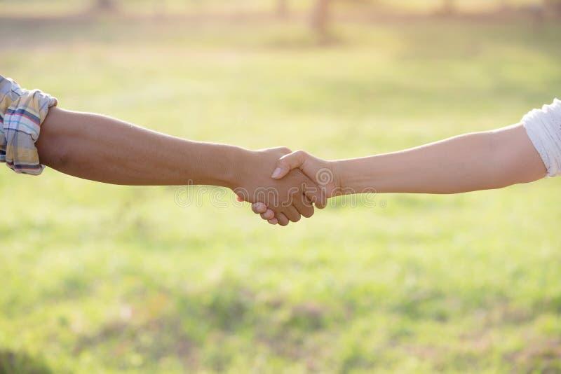 Handskakning för två personer i de trädgårds- fälten royaltyfria bilder