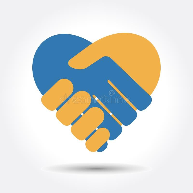 Handskakning i form av hjärta vektor illustrationer