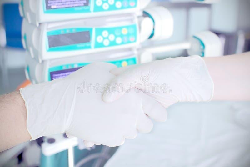 Handskakning i laboratoriumet. royaltyfria bilder