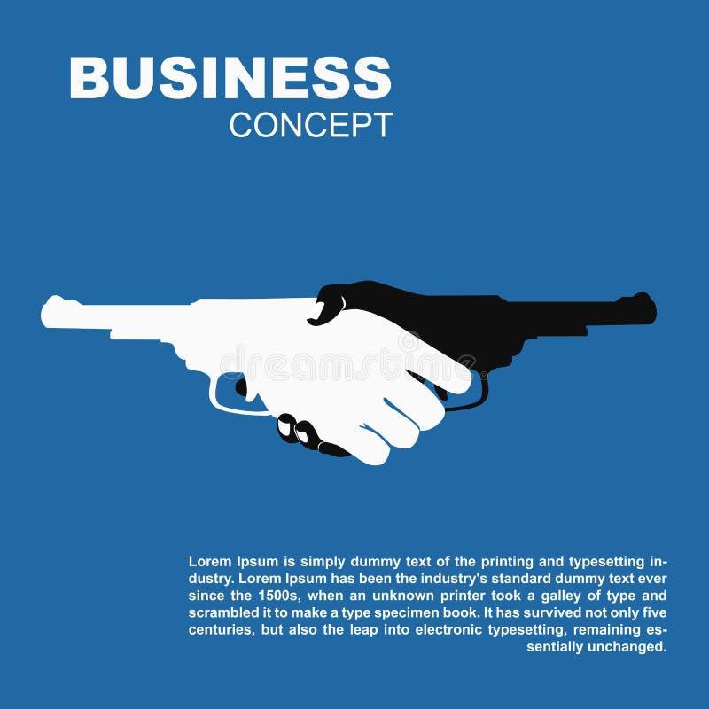 Handskakning med vapen Dödande farligt affärsavtal royaltyfri illustrationer