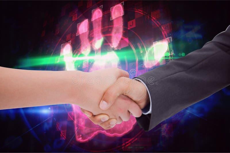 Handskakning mot kulör fingeravtryckbakgrund vektor illustrationer