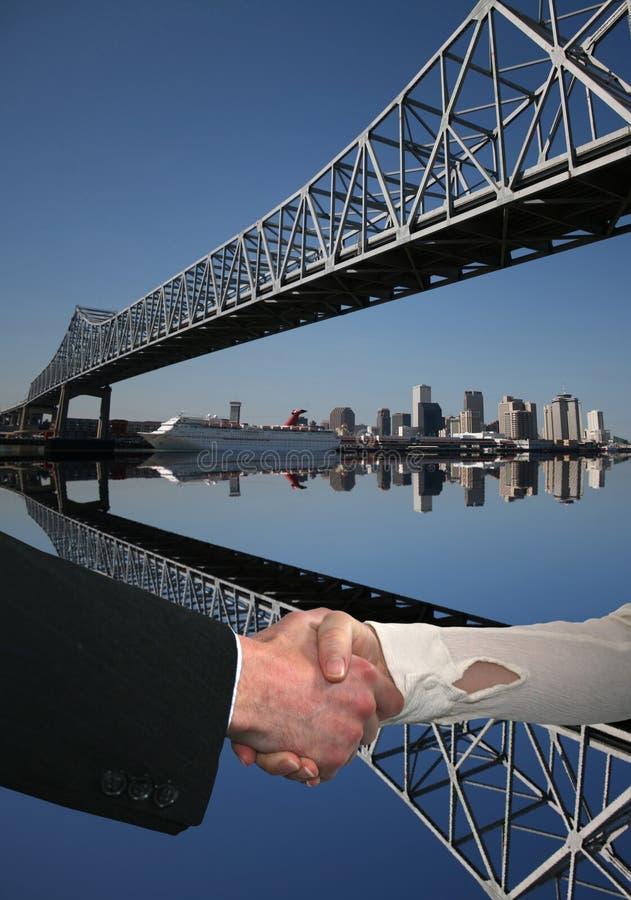 handskakning New Orleans royaltyfri illustrationer