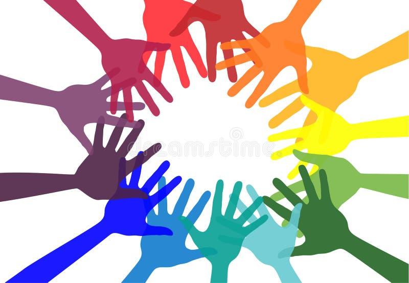 Handskakning- och kamratskapsymbol färgrika händer Begrepp av demokrati stock illustrationer
