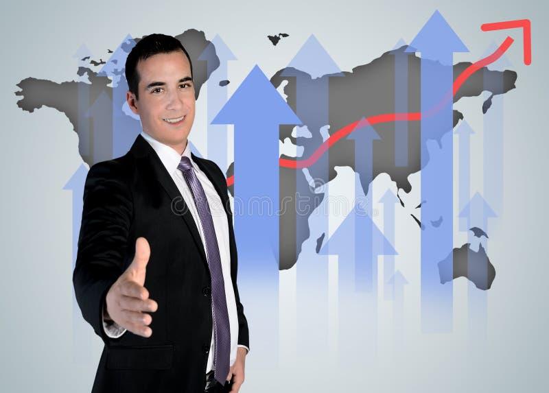 Handskakning och världskarta royaltyfria foton