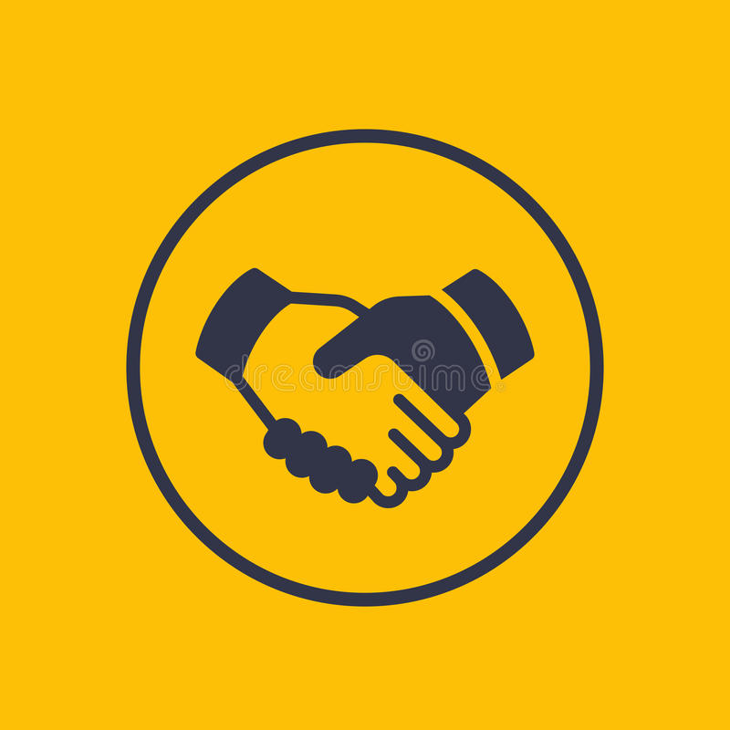 Handskakning partnerskap, avtalssymbol stock illustrationer