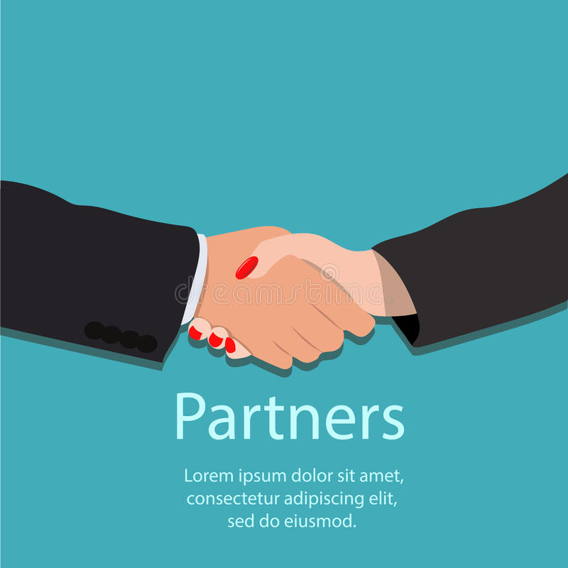Handskakning, partnerskap eller teamworkbegrepp royaltyfri illustrationer