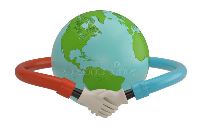 Handskakning runt om jordklotet på vit bakgrund illustration 3d stock illustrationer