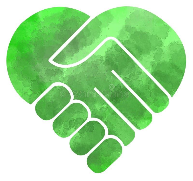 Handskakning som hjärta-formas, dragen hand, natur royaltyfri illustrationer