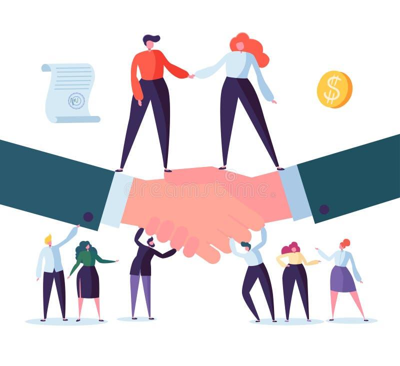 Handskakningaffärsöverenskommelse Plana folktecken som undertecknar avtalet Lyckat partnerskap, samarbetsbegrepp vektor illustrationer