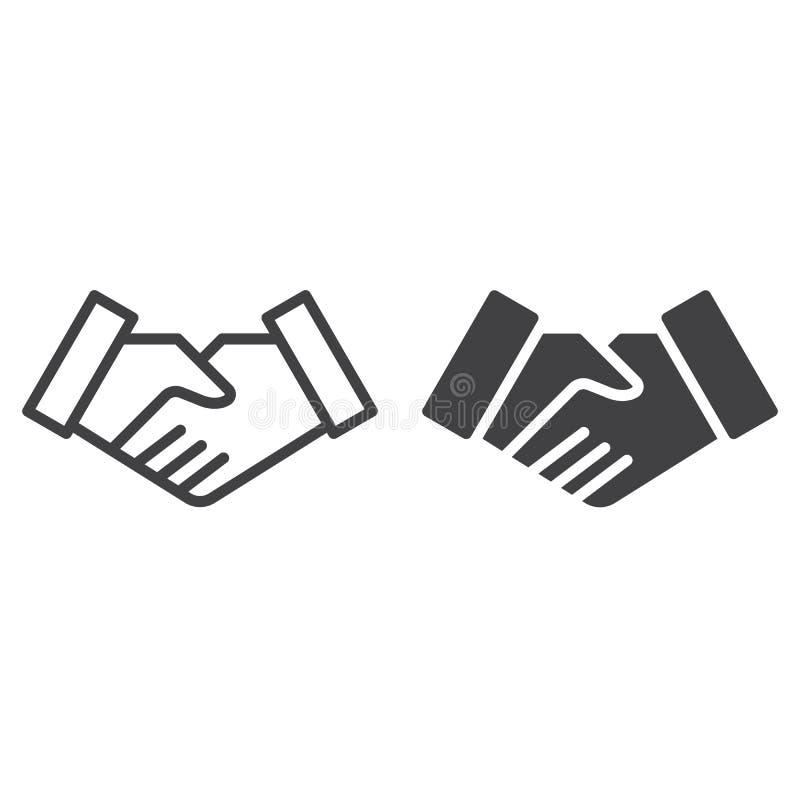 Handskakningavtalslinje och fast symbol, översikt och fylld pictogram för tecken för vektor som linjär och full, isoleras på vit vektor illustrationer