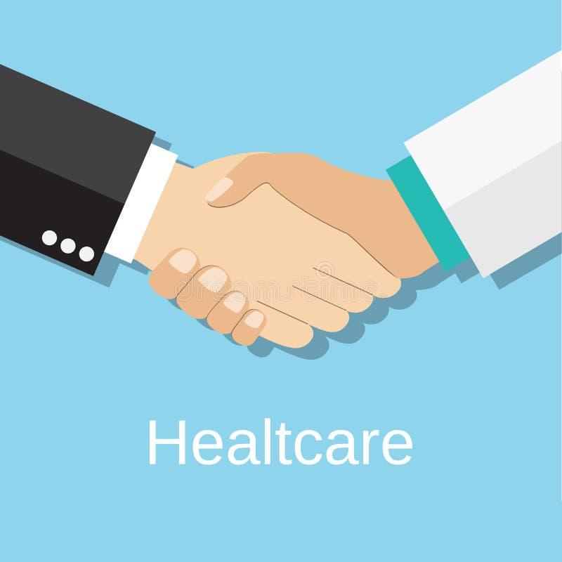 Handskakningdoktor och patient, stock illustrationer