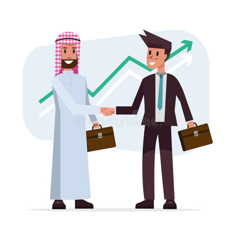 Handskakningen för affärsavtalet med arabisk och europeisk person som tillhör en etnisk minoritet mans vektor illustrationer