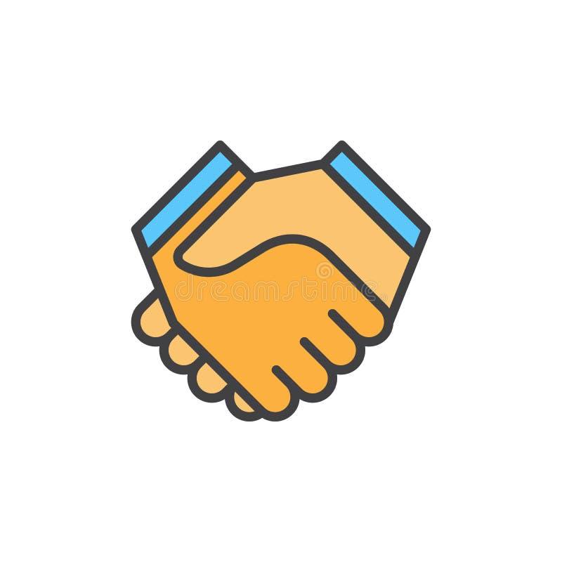 Handskakningen fyllde översiktssymbolen, vektortecknet, färgrik illustration för partnerskap stock illustrationer