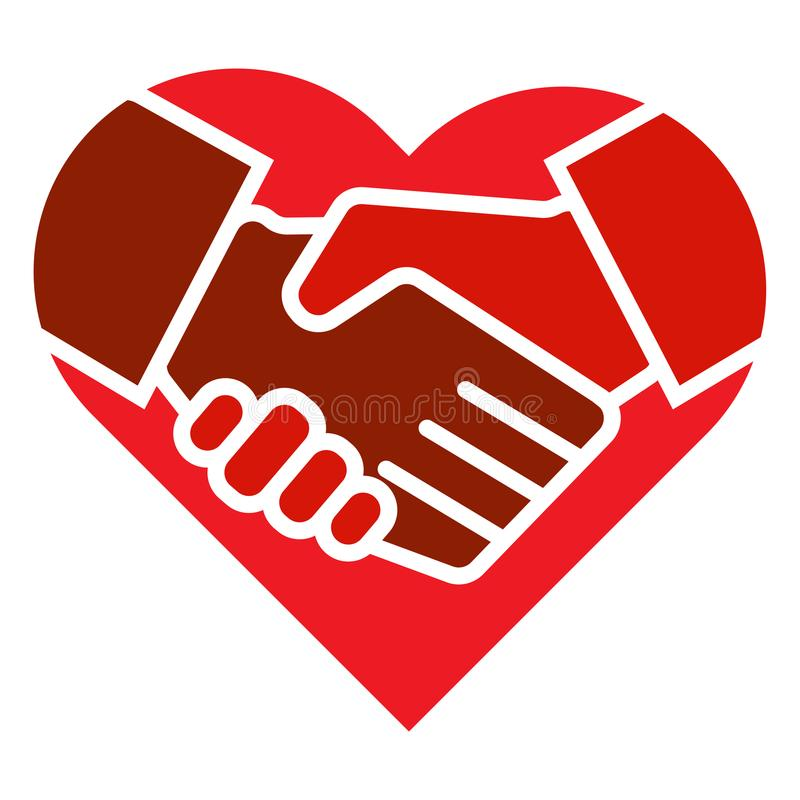 Handskakninglaget räcker hjärtalogo stock illustrationer