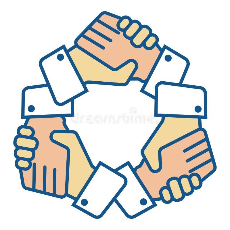 Handskakninglaget räcker logo på vit stock illustrationer