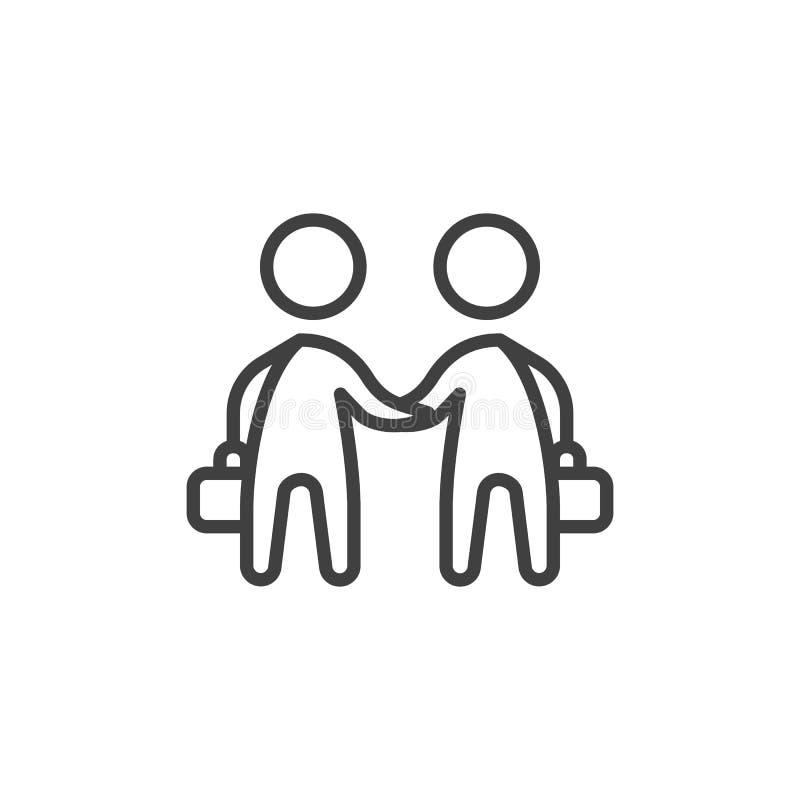 Handskakninglinje symbol för två affärsman stock illustrationer