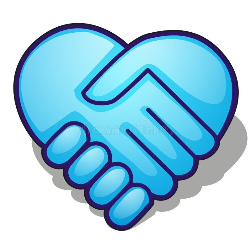Handskakningsymbol som bildar en blå hjärta som isoleras på vit bakgrund Illustration för vektortecknad filmnärbild royaltyfri illustrationer