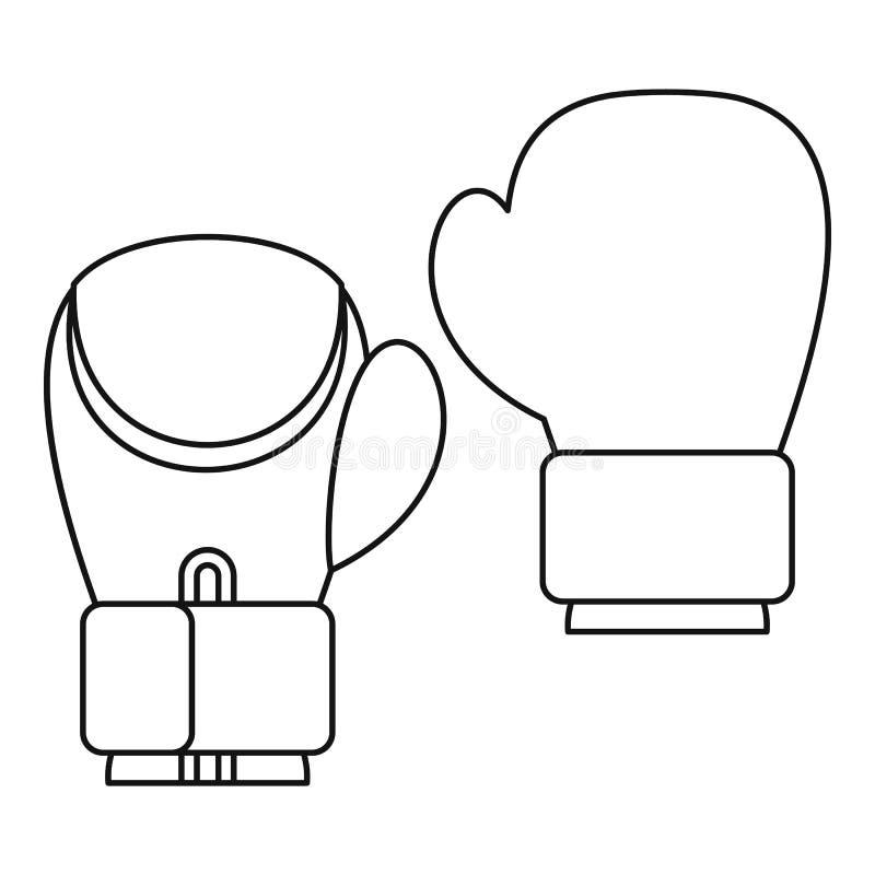Handskar för att boxas symbolen, översiktsstil vektor illustrationer