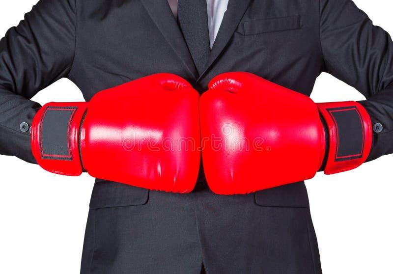 handskar för begrepp för konkurrens för aggressivenessboxningaffärsman royaltyfri bild